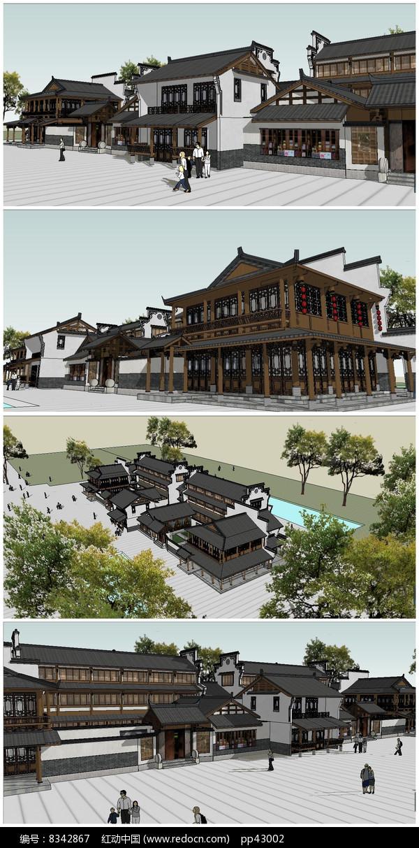 中式商业街整体建筑SU模型图片