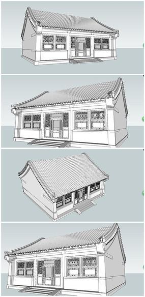 中式四合院厢房SU模型素材