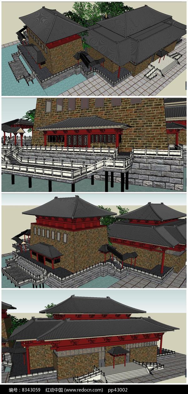 中式隋唐风格古建筑SU模型图片
