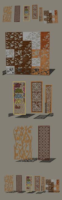 中式装饰板窗花模型SU设计