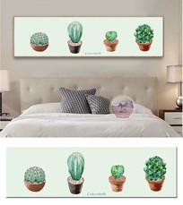 北欧手绘植物仙人球水彩装饰画