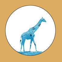 长颈鹿无框画 PSD