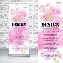 粉红花束唯美易拉宝