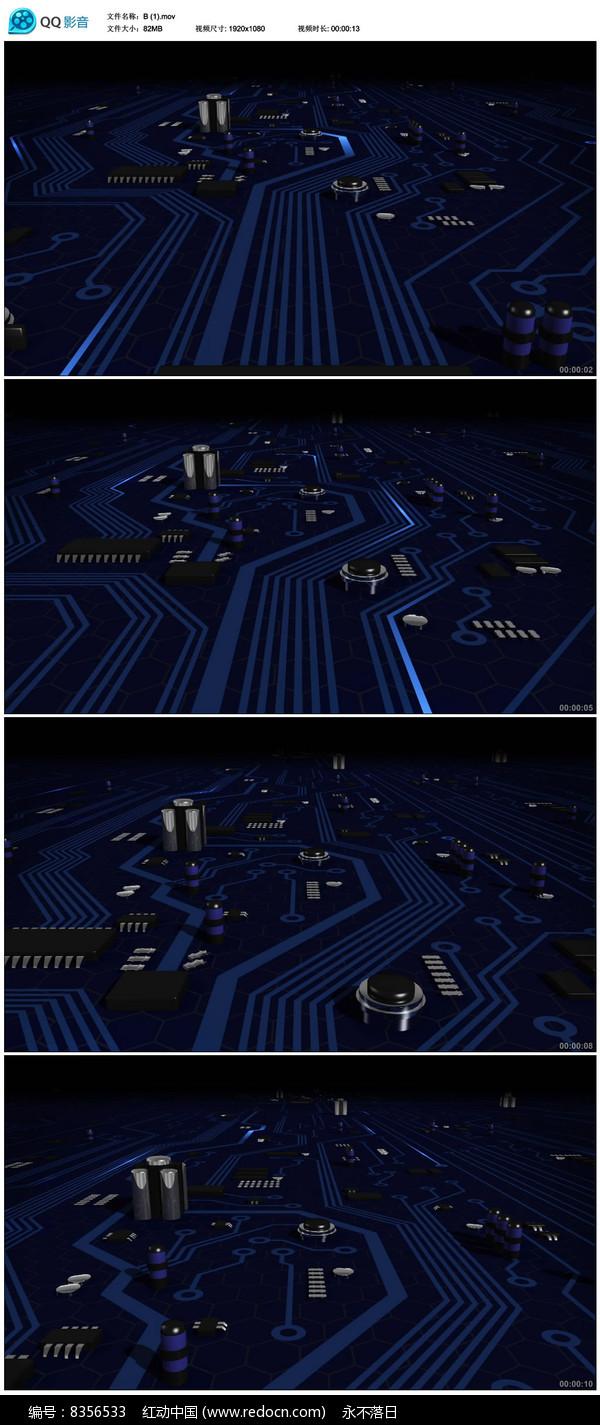 高科技电路板背景视频素材图片