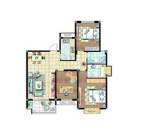 家具室内户型图 PSD