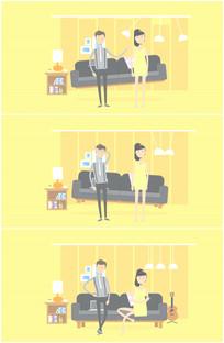 卡通夫妻刚结婚家庭妻管严视频 mov
