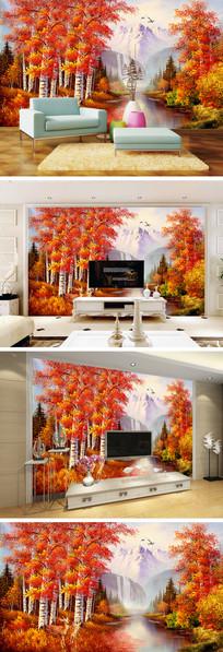 油画秋天森林梅花鹿背景墙