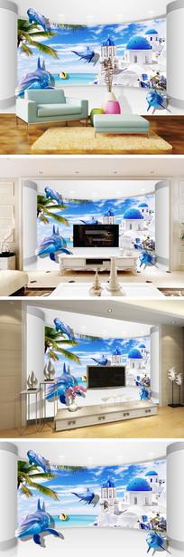 3D立体爱情海海豚背景墙