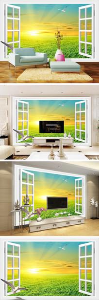 3D立体窗户清晨鸽子背景墙