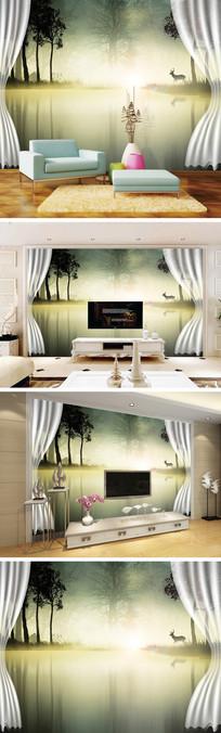 3D立体窗帘树林麋鹿背景墙