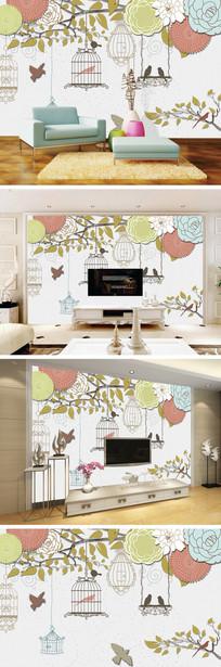 3D立体锦簇花团花鸟背景墙