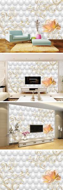 3D立体手绘玫瑰背景墙