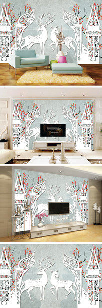 3D立体手绘树林麋鹿背景墙