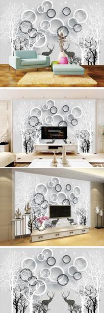 3D立体树林麋鹿背景墙
