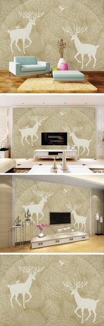 抽象树林麋鹿背景墙