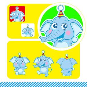 大象三视图卡通形象