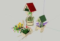 多款庭院花钵模型  skp