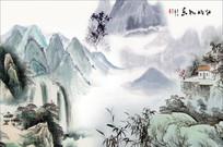 国画山水新中式背景墙