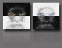 黑白抽象猫咪装饰画