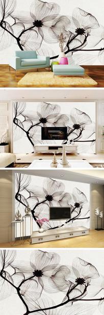 黑白花卉背景墙