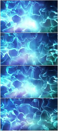 蓝色柔软平滑丝带缓慢变幻素材