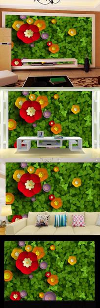 蔷薇喇叭花卉背景墙