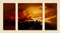 三联无框画抽象油画