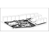 月牙广场绿地设计轴测图 dwg