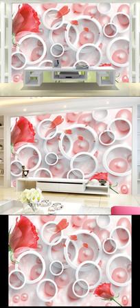 3D粉色玫瑰花电视背景墙