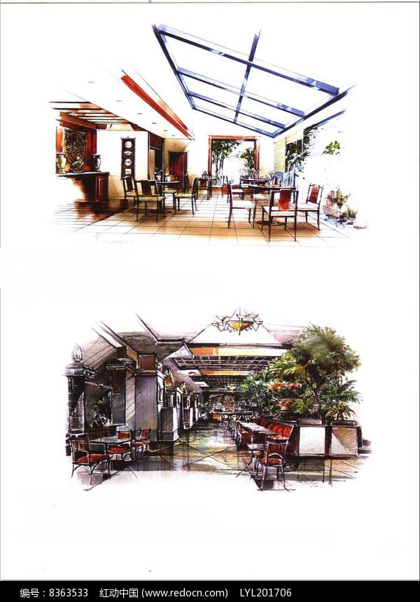 工业风餐厅手绘图图片