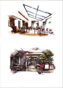 工业风餐厅手绘图