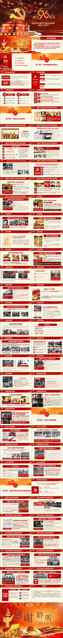 光辉的建党96年党史PPT