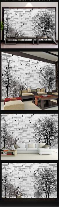 黑白树墙体飞鸟3D时尚背景墙