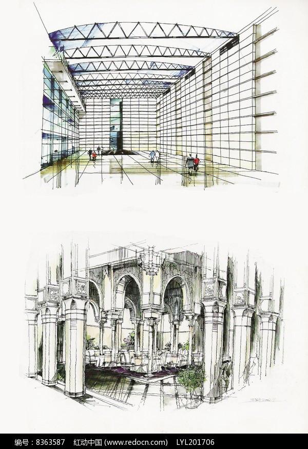建筑彩铅手绘图图片
