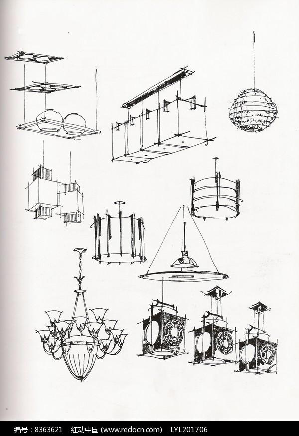 欧式吊灯手绘图
