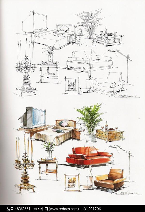 原创设计稿 方案意向 手绘素材 室内家具手绘  请您分享: 红动网提供