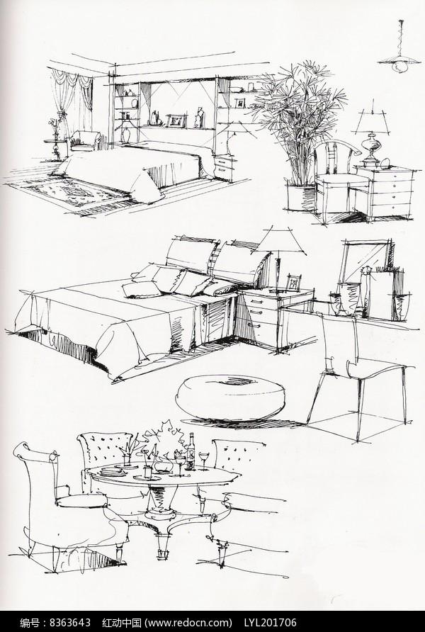 室内家具手绘图图片