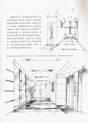 室内空间手绘线稿
