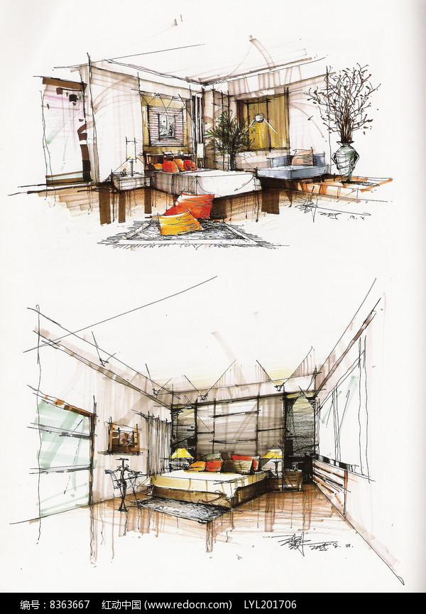 室内卧室手绘图图片