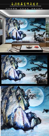 月下美景电视背景墙装饰画