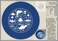明蓝釉白花鱼莲盘纹样矢量素材