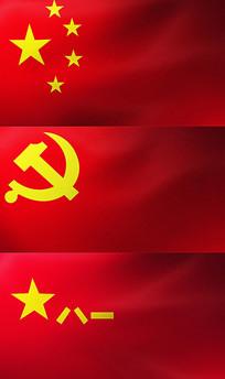 五星红旗党旗八一军旗视频素材