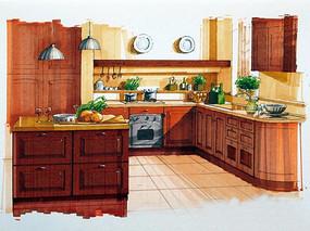 厨房手绘图