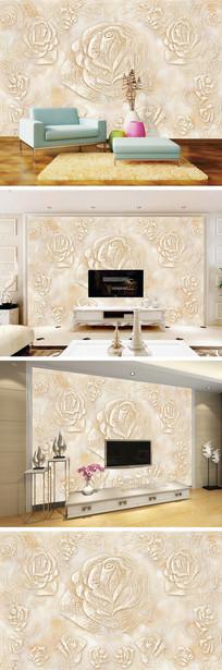 大理石纹线条玫瑰背景墙