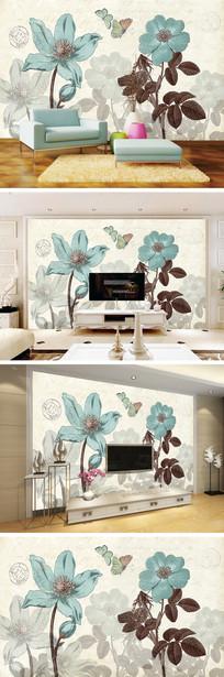 复古怀旧花卉蝴蝶背景墙