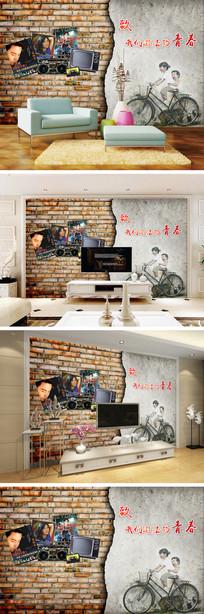 复古怀旧墙壁海报自行车背景墙