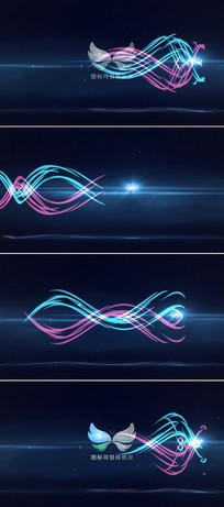 光线波浪logo文字展示模板