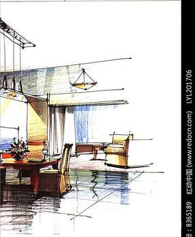 室内手绘图 简单室内手绘图 室内手绘图 购物中心室内手绘效果图 欧式