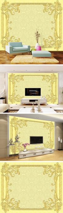 金色浮雕花纹背景墙