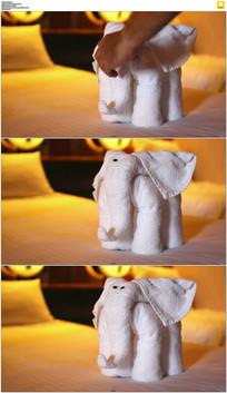 酒店白毛巾叠大象实拍视频素材